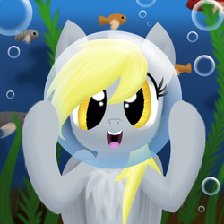 Size: 1500x1500 | Tagged: safe, artist:stellardust, derpibooru exclusive, derpy hooves, fish, pegasus, pony, bubble, chest fluff, cute, derpabetes, female, happy, looking at you, mare, open mouth, seaweed, solo, underwater, water