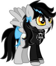 Size: 792x936 | Tagged: artist:lightningbolt, bow, bring me the horizon, choker, clothes, colored sclera, derpibooru exclusive, fangs, female, hoodie, mare, oc, oc:lightning dee, oc only, pegasus, pony, safe, simple background, smiling, solo, spiked choker, spiked wristband, spread wings, standing, svg, .svg available, tail bow, transparent background, vector, wings, wristband