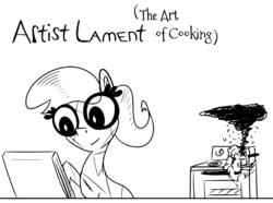 Size: 1250x931 | Tagged: artist:krystalmark, burning, comic:artist lament, cooking, crystal pony, drawing, earth pony, female, glasses, mare, monochrome, oc, oc:krystal mark, oc only, oven, pony, safe, smiling, smoke, solo