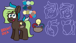 Size: 1920x1080 | Tagged: safe, artist:threetwotwo32232, oc, oc:bright idea, earth pony, pony, female, mare, reference sheet, solo