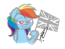 Size: 1600x1200 | Tagged: female, flag, mare, pegasus, pony, rainbow dash, safe, signature, solo, union jack