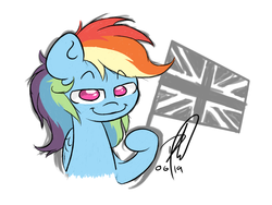 Size: 1600x1200 | Tagged: artist:hopefulsparks, british, female, flag, mare, pegasus, pony, rainbow dash, safe, smiling, smirk, solo, union jack