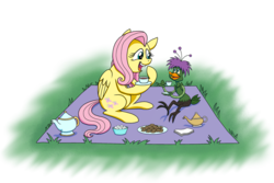 Size: 1024x684 | Tagged: artist:crazynutbob, blanket, bushroot, cookie, crossover, darkwing duck, fluttershy, food, grass, picnic, safe, simple background, sugar cube, tea party, teapot, transparent background