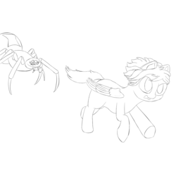 Size: 1000x1000 | Tagged: artist:shoophoerse, atg 2019, giant spider, lineart, newbie artist training grounds, oc, pegasus, pony, running, safe, solo, spider