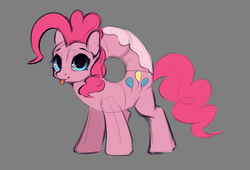 Size: 1246x846 | Tagged: safe, artist:hitbass, pinkie pie, donut pony, food pony, original species, pony, :p, :t, colored sketch, cute, diapinkes, donut, donyatsu, female, food, gray background, looking at you, mare, ponified, ponk, race swap, simple background, sketch, smiling, solo, tongue out, wat
