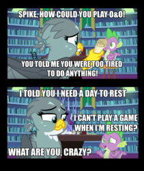 Size: 952x1129 | Tagged: caption, dragon, dragon dropped, dungeons and dragons, edit, edited screencap, female, gabby, griffon, image macro, library, male, ogres and oubliettes, rarity, safe, screencap, spike, spoiler:s09e19, text, winged spike