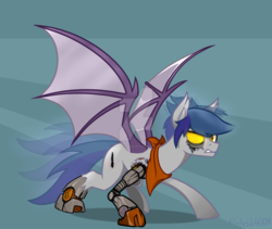 Size: 1280x1081 | Tagged: artist:flylash6009, bat pony, bat pony oc, hologram, neckerchief, oc, oc:flylash, robot, safe