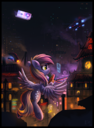 Size: 1511x2048 | Tagged: safe, artist:atlas-66, derpy hooves, pegasus, pony, city, cyberpunk, cyrillic, female, flying, food, groceries, japanese, mare, night, russian, solo, spread wings, wings