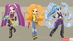 Size: 1920x1080 | Tagged: adagio dazzle, alternate costumes, amara (borderlands 3), aria blaze, artist:howxu, borderlands, borderlands 2, borderlands 3, clothes, cosplay, costume, crossover, cute, disguise, disguised siren, equestria girls, female, gun, lilith (borderlands), maya (borderlands 2), safe, siren, sonata dusk, tattoo, the dazzlings, weapon