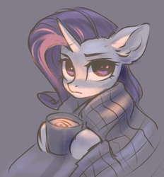 Size: 688x742 | Tagged: safe, artist:inowiseei, rarity, pony, unicorn, blanket, chocolate, drink, female, food, gray background, hot chocolate, looking at you, mare, mug, serious, serious face, simple background, solo