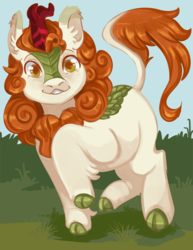 Size: 800x1035 | Tagged: safe, artist:kingbriarturtle, autumn blaze, kirin, sounds of silence, awwtumn blaze, cloven hooves, cute, female, grass, looking at you, raised leg, smiling, solo