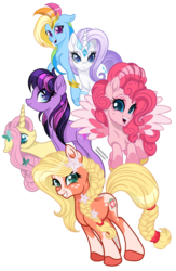 Size: 900x1383 | Tagged: safe, artist:santamouse23, applejack, fluttershy, pinkie pie, rainbow dash, rarity, twilight sparkle, earth pony, pegasus, pony, unicorn, applejack (g5), earth pony twilight, fanart, fluttershy (g5), g5, g5 concept leak style, illustrator, mane six, mane six (g5), pegasus pinkie pie, pinkie pie (g5), race swap, rainbow dash (g5), rarity (g5), simple background, transparent background, twilight sparkle (g5), unicorn fluttershy