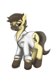 Size: 1200x1575 | Tagged: artist:gunslingerpen, clothes, earth pony, lab coat, oc, oc:calpain, oc only, pony, safe, solo