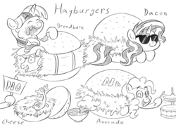 Size: 800x570 | Tagged: artist:artattax, avogadro's number, boneless 2, braeburn, burger, cheese sandwich, drums, food, hamburger, hay, hayburn, implied vore, monochrome, pinkie pie, pun, rimshot, safe, sketch, sunglasses, sunset shimmer, twilight burgkle, twilight sparkle, visual pun