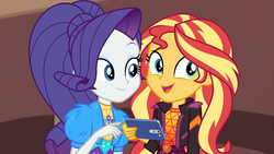 Size: 1920x1080   Tagged: safe, screencap, rarity, sunset shimmer, equestria girls, equestria girls series, festival filters, spoiler:eqg series (season 2), cellphone, clothes, cute, duo, duo female, female, geode of empathy, geode of fauna, geode of shielding, geode of sugar bombs, geode of super speed, geode of super strength, geode of telekinesis, magical geodes, phone, raribetes, shimmerbetes, smartphone, smiling