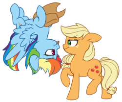 Size: 2725x2262 | Tagged: appledash, applejack, artist:chub-wub, cowboy hat, cute, dashabetes, female, halloween, hat, holiday, jackabetes, lesbian, looking at each other, mare, pony, rainbow dash, safe, shipping, simple background, stetson, transparent background, upside down