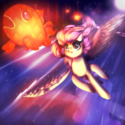 Size: 1900x1900 | Tagged: amazed, artist:kizokukokoro, female, fluttershy, flying, goldfish, looking at something, looking up, mare, night, open mouth, pegasus, pony, safe, spread wings, windswept mane, wings