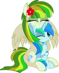 Size: 6249x7632 | Tagged: safe, artist:cyanlightning, oc, oc only, oc:cyan lightning, oc:green lightning, pegasus, pony, unicorn, .svg available, absurd resolution, blushing, clothes, colt, cute, duo, eyes closed, female, flower, flower in hair, hug, male, mare, mother and son, ocbetes, open mouth, scarf, simple background, smiling, spread wings, transparent background, vector, wings