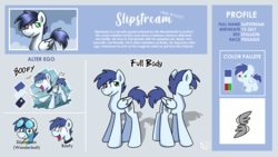 Size: 3840x2160 | Tagged: safe, artist:sugar morning, oc, oc only, oc:slipstream, pegasus, pony, boofy, male, reference, reference sheet, stallion