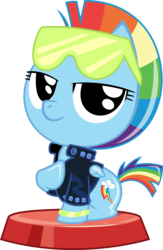 Size: 2247x3437 | Tagged: 80s, alternate hairstyle, artist:phucknuckl, clothes, cute, dashabetes, female, glam rock dash, jacket, my little pocket ponies, pocket ponies, rainbow dash, safe, simple background, smiling, solo, sunglasses, transparent background