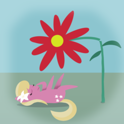 Size: 1000x1000 | Tagged: artist:redquoz, background pony, dream, earth pony, female, flower, lily, lily valley, lying down, mare, nightmare, pointy ponies, pony, safe, small pony, solo, swoon