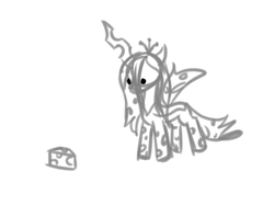 Size: 1600x1200 | Tagged: artist:hopefulsparks, changeling, changeling queen, cheese, cheeselegs, chibi, doodle, female, food, meme, monochrome, pony, queen chrysalis, safe, simple background, sketch, solo
