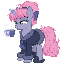 Size: 3200x3200 | Tagged: alternate version, artist:cheezedoodle96, bathrobe, blowing, clothes, cup, female, glowing horn, horn, levitation, magic, mare, messy mane, oc, oc only, oc:velvet, pony, robe, safe, see-through, sheer lingerie, simple background, slippers, solo, steam, svg, .svg available, teacup, telekinesis, transparent background, unicorn, vector