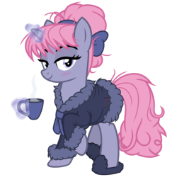 Size: 3200x3200 | Tagged: artist:cheezedoodle96, bathrobe, blushing, clothes, cup, female, glowing horn, horn, levitation, looking at you, magic, mare, messy mane, oc, oc only, oc:velvet, pony, raised hoof, robe, safe, see-through, sheer lingerie, simple background, slippers, solo, svg, .svg available, teacup, telekinesis, transparent background, unicorn, vector