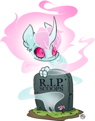 Size: 1454x1856 | Tagged: artist:kez, blaze (coat marking), ear fluff, flower, freckles, ghost, ghost pony, gravestone, horn, looking at you, markings, oc, oc:scoops, pony, safe, skull, skull eyes, solo, text, unicorn, wingding eyes