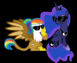 Size: 3244x2652 | Tagged: safe, artist:shizow, princess luna, oc, oc:rainbow feather, alicorn, griffon, hippogriff, pony, female, griffon oc, interspecies offspring, magical lesbian spawn, mare, offspring, parent:gilda, parent:rainbow dash, parents:gildash, rainbow hair, simple background, sunglasses, transparent background