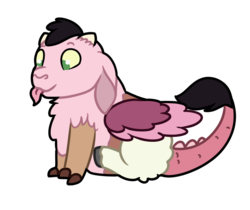 Size: 743x625 | Tagged: artist:quincydragon, baby draconequus, female, hybrid, interspecies offspring, oc, oc:fairy floss, offspring, parent:discord, parent:princess celestia, parents:dislestia, safe, simple background, solo, tongue out, transparent background
