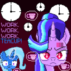 Size: 3875x3875 | Tagged: angry, artist:superhypersonic2000, clock, cup, pixel art, safe, starlight glimmer, teacup, that pony sure does love teacups, trixie