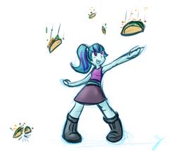 Size: 960x824 | Tagged: safe, artist:zutcha, sonata dusk, equestria girls, armpits, food, happy, sketch, smiling, solo, sonataco, taco, that girl sure loves tacos