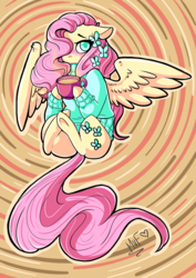 Size: 707x1000 | Tagged: safe, artist:salty-irish-potato, butterfly, earth pony, pegasus, pony, blushing, clothes, coffee, cup, female, mare, mug, solo, sweater, underhoof