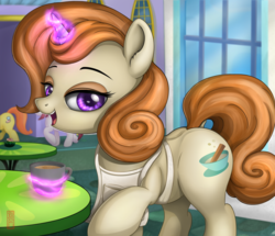 Size: 2717x2340 | Tagged: apron, artist:celsian, background pony, canterlot, cayenne, cinnamon chai, citrus blush, clothes, dock, eyeshadow, female, glowing horn, horn, levitation, lidded eyes, looking at you, magic, magic aura, makeup, mare, mug, offscreen character, open mouth, pony, raised hoof, rarity investigates, safe, signature, smiling, solo, standing, telekinesis, unicorn