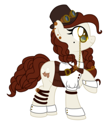 Size: 1009x1152 | Tagged: artist:crystal-tranquility, cuffs (clothes), earth pony, female, goggles, hat, mare, monocle, oc, oc:tinker bulb, pony, safe, simple background, solo, steampunk, top hat, transparent background