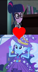 Size: 362x687 | Tagged: edit, edited screencap, equestria girls, female, friendship games, lesbian, rainbow rocks, safe, sci-twi, screencap, shipping, shipping domino, trixie, twilight sparkle, twixie