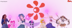 Size: 1024x400 | Tagged: alicorn, artist:ryanswan5, crossover, female, kyoto animation, pinkie pie, safe, sailor moon, twilight sparkle, twilight sparkle (alicorn), wings