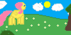 Size: 2000x1000 | Tagged: artist:joeydr, bush, cloud, female, flower, fluttershy, mare, newbie artist training grounds, outdoors, pegasus, pixel art, pony, safe, sun, tree