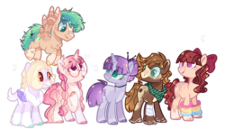 Size: 1280x730 | Tagged: artist:jxst-alexa, base used, earth pony, female, hybrid, interspecies offspring, magical lesbian spawn, male, mare, oc, oc:amethyst, oc:blazing star, oc:matheo, oc only, oc:panmela, oc:strawberry cheesecake, oc:sunrise dawn, offspring, parent:applejack, parent:cheese sandwich, parent:discord, parent:dumbbell, parent:fluttershy, parent:maud pie, parent:pinkie pie, parent:rainbow dash, parent:rarity, parents:cheesepie, parents:discoshy, parents:dumbdash, parents:rarimaud, parents:sunsetsparkle, parents:troublejack, parent:sunset shimmer, parent:troubleshoes clyde, parent:twilight sparkle, pegasus, pony, safe, stallion, unicorn