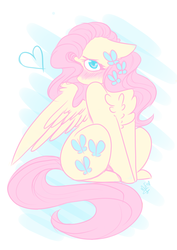 Size: 1280x1810 | Tagged: safe, artist:salty-irish-potato, fluttershy, pegasus, pony, blushing, chest fluff, cute, female, heart, looking at you, mare, shy, shyabetes, sitting, solo