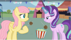 Size: 640x362 | Tagged: safe, artist:agrol, fluttershy, starlight glimmer, alternate cutie mark, alternate hairstyle, alternate universe, caramel apple (food), change your reality, chewing, eating, food, levitation, magic, popcorn, telekinesis, youtube link