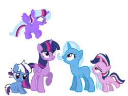 Size: 2732x2048 | Tagged: alicorn, artist:turnaboutart, base used, family, female, lesbian, magical lesbian spawn, oc, oc:aurora, oc:nebula, oc:sparkle magic, offspring, parents:twixie, parent:trixie, parent:twilight sparkle, safe, shipping, simple background, transparent background, trixie, twilight sparkle, twilight sparkle (alicorn), twixie