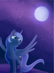 Size: 1382x1853 | Tagged: alicorn, artist:dusthiel, atg 2019, cute, cutie mark, female, grass, lineless, moon, newbie artist training grounds, night, pony, princess luna, safe, smiling, solo, spread wings, starry night, wings