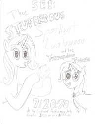 Size: 1700x2200 | Tagged: alternate design, alternate name, female, headcanon in the description, image in description, mother and daughter, pony, poster, safe, sketch, sunflower spectacle, trixie, unicorn, younger