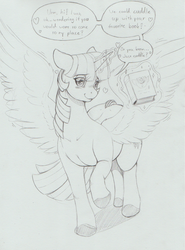 Size: 1223x1653 | Tagged: alicorn, artist:longinius, bashful, blushing, book, bookhorse, cute, dialogue, female, heart, magic, mare, pony, raised hoof, safe, sketch, solo, spread wings, talking to viewer, telekinesis, twiabetes, twilight sparkle, twilight sparkle (alicorn), wingboner, wings