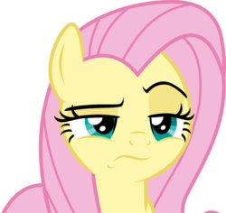 Size: 6550x6187 | Tagged: absurd resolution, angel bunny, angel is not amused, artist:twilirity, body swap, close-up, female, fluttershy, frown, lidded eyes, looking at you, male and female, mare, pegasus, pony, raised eyebrow, safe, she talks to angel, simple background, solo, spoiler:s09e18, .svg available, transparent background, unamused, vector