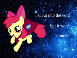 Size: 1600x1200 | Tagged: safe, apple bloom, earth pony, pony, 1000 years in photoshop, apple bloom's bow, bow, cape, caption, clothes, cmc cape, dissonant caption, female, filly, foal, hair bow, happy, image macro, jumping, liberation serif, looking at you, open mouth, running, serif, smiling, solo, space, space background, stars, subversive kawaii, text, void