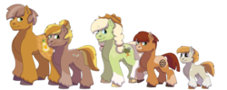Size: 1280x512 | Tagged: artist:itstechtock, colt, earth pony, female, male, mare, oc, oc:cameo quartz, oc:cloudy cortland, oc:golden anjou, oc only, oc:pippin apple, oc:sweet bee, offspring, parent:big macintosh, parent:marble pie, parents:marblemac, pony, safe, simple background, stallion, transparent background