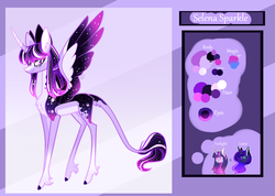 Size: 3000x2137 | Tagged: alicorn, artist:sugaryicecreammlp, female, magical lesbian spawn, mare, oc, oc:selena sparkle, offspring, parent:princess luna, parents:twiluna, parent:twilight sparkle, pony, reference sheet, safe, solo